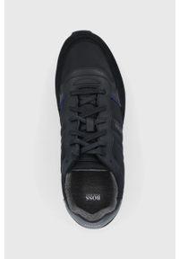Czarne sneakersy BOSS na sznurówki, z cholewką, z okrągłym noskiem