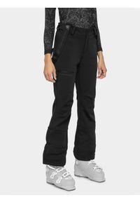 4f - Spodnie narciarskie damskie. Kolor: czarny. Materiał: softshell, materiał. Sezon: zima. Sport: narciarstwo