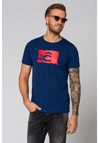 Niebieski t-shirt Lancerto na lato, klasyczny, z nadrukiem, na co dzień