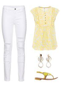 Żółta bluzka bonprix krótka, z krótkim rękawem
