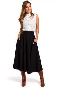 Style - Rozkloszowana spódnica z zaznaczoną talią. Materiał: len, materiał