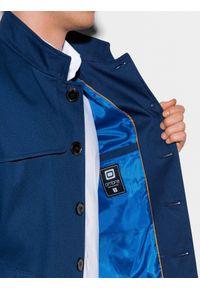 Ombre Clothing - Płaszcz męski wiosenny C269 - granatowy - XXL. Typ kołnierza: kołnierzyk stójkowy. Kolor: niebieski. Materiał: poliester, bawełna. Sezon: wiosna. Styl: elegancki