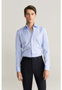 Niebieska koszula Mango Man elegancka, z włoskim kołnierzykiem