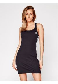 Czarna sukienka letnia Adidas na co dzień, prosta, casualowa