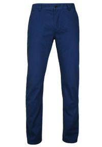 Chiao - Eleganckie, Męskie Spodnie, 100% BAWEŁNA, Chinosy, Ciemnogranatowe. Kolor: niebieski. Materiał: bawełna. Styl: elegancki