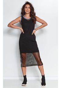 Makadamia - Czarna Midi Sukienka z Siateczką. Kolor: czarny. Materiał: bawełna, poliester, elastan. Długość: midi