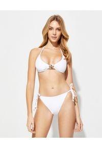 Balmain - BALMAIN - Białe bikini z metalowym zdobieniem. Kolor: biały. Materiał: materiał. Wzór: aplikacja