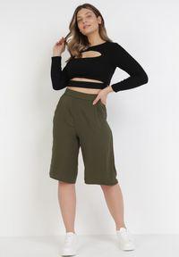 Zielone spodnie z wysokim stanem Born2be
