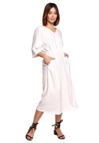 BE - Swobodna sukienka midi z szeroką gumą w pasie biała. Okazja: na co dzień. Kolor: biały. Materiał: guma. Sezon: wiosna, lato. Typ sukienki: proste. Styl: boho, casual. Długość: midi