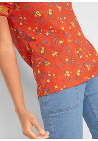 T-shirt z nadrukiem bonprix pomarańczowy z nadrukiem. Kolor: pomarańczowy. Wzór: nadruk