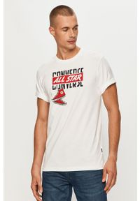 Biały t-shirt Converse na co dzień, z nadrukiem, casualowy