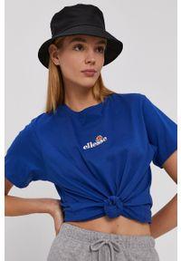 Ellesse - T-shirt bawełniany. Okazja: na co dzień. Kolor: niebieski. Materiał: bawełna. Wzór: nadruk. Styl: casual