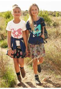 T-shirt dziewczęcy (2 szt.) bonprix biel wełny - ciemnoniebieski. Kolor: biały. Materiał: wełna