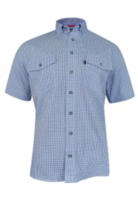 Niebieska koszula Jurel w kratkę, krótka, z krótkim rękawem