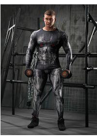 FJ! - Rashguard długi rękaw CYBER Black. Materiał: dzianina, materiał, elastan, skóra, poliester. Długość rękawa: długi rękaw. Długość: długie. Wzór: nadruk. Sport: fitness
