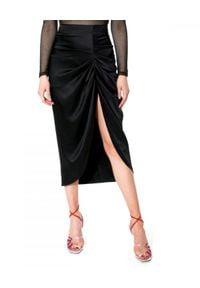 AGGI - Czarna ołówkowa spódnica z drapowaniem Katy. Kolor: czarny. Styl: wizytowy, rockowy