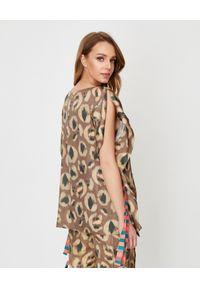 Manila Grace - MANILA GRACE - Brązowa bluzka w cętki. Kolor: brązowy. Materiał: tkanina, wiskoza, jeans. Wzór: paski, kolorowy. Styl: elegancki