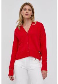 Beatrice B - Kardigan wełniany. Kolor: czerwony. Materiał: wełna. Długość rękawa: długi rękaw. Długość: długie