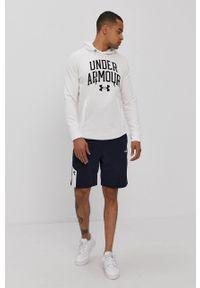 Under Armour - Bluza. Kolor: biały. Materiał: dzianina. Wzór: nadruk