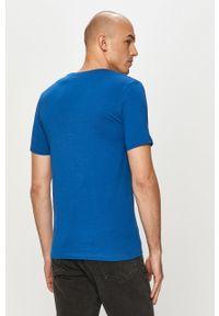 Niebieski t-shirt Jack & Jones na co dzień, gładki, casualowy