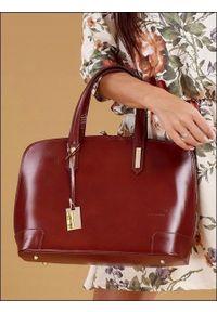 Brązowa torebka ROVICKY elegancka, na ramię, skórzana