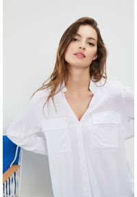 Biała koszula MOODO z długim rękawem, długa