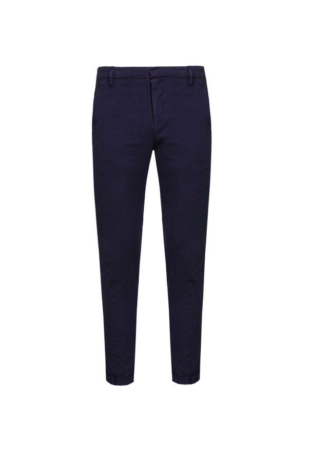Niebieskie spodnie Dondup z aplikacjami, eleganckie