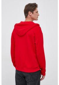 United Colors of Benetton - Bluza bawełniana. Kolor: czerwony. Materiał: bawełna. Wzór: gładki