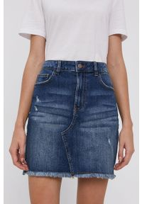 Jacqueline de Yong - Spódnica jeansowa. Okazja: na co dzień. Kolor: niebieski. Materiał: jeans. Styl: casual