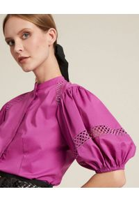 Luisa Spagnoli - LUISA SPAGNOLI - Koszula z bufiastymi rękawami Bauny. Kolor: różowy, wielokolorowy, fioletowy. Materiał: bawełna. Wzór: ażurowy. Styl: elegancki