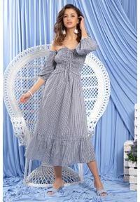 Fobya - Granatowa Midi Sukienka w Stylu Boho w Białą Krateczkę. Kolor: biały, niebieski, wielokolorowy. Materiał: bawełna. Styl: boho. Długość: midi