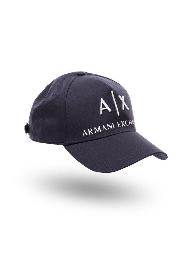 Niebieskie nakrycie głowy Armani Exchange z haftami