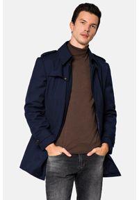 Lancerto - Płaszcz Granatowy Molson. Okazja: do pracy. Kolor: niebieski. Materiał: wiskoza, materiał, poliester. Styl: elegancki