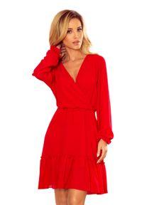 Czerwona sukienka Numoco z falbankami