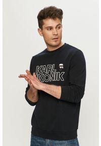 Niebieska bluza nierozpinana Karl Lagerfeld z aplikacjami, na co dzień, klasyczna