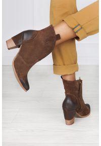 Exquisite - Brązowe botki kowbojki polska skóra exquisite 1132. Kolor: brązowy. Materiał: skóra