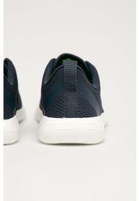 Niebieskie sneakersy Crocs bez zapięcia, na obcasie, na niskim obcasie, z cholewką
