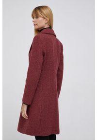 Sisley - Płaszcz wełniany. Okazja: na co dzień. Kolor: czerwony. Materiał: wełna. Styl: casual
