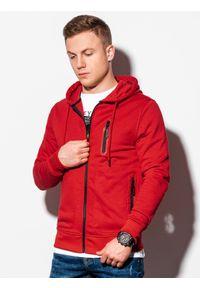 Ombre Clothing - Bluza męska rozpinana z kapturem B1086 - czerwona - XXL. Typ kołnierza: kaptur. Kolor: czerwony. Materiał: bawełna, poliester
