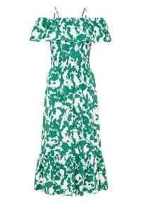 Sukienka z dekoltem carmen bonprix biel wełny - zielony butelkowy w kwiaty. Typ kołnierza: typu carmen. Kolor: biały. Materiał: wełna. Wzór: kwiaty