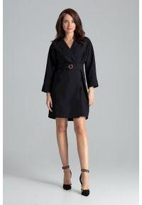 e-margeritka - Sukienka żakietowa elegancka czarna - s/m. Okazja: do pracy, na co dzień. Kolor: czarny. Materiał: materiał, poliester. Typ sukienki: proste. Styl: elegancki. Długość: midi