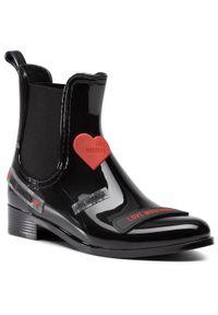 Czarne botki Love Moschino z cholewką, z aplikacjami, na obcasie