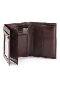 Wittchen - Męski portfel skórzany praktyczny. Kolor: brązowy. Materiał: skóra. Wzór: aplikacja