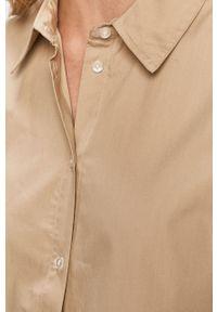 Beżowa koszula Vila z klasycznym kołnierzykiem, na co dzień, casualowa, długa