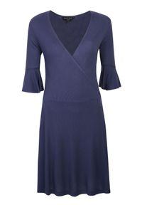 Niebieska sukienka TROLL casualowa, z krótkim rękawem, kopertowa, na co dzień #7
