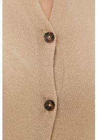 Pieces - Sweter. Okazja: na co dzień. Kolor: beżowy. Materiał: dzianina. Długość rękawa: długi rękaw. Długość: długie. Styl: casual