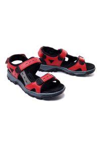 Czerwone sandały Rieker na rzepy