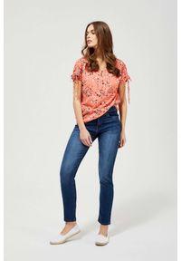 MOODO - Jeansy typu straight leg z przetarciami. Długość: długie. Wzór: gładki