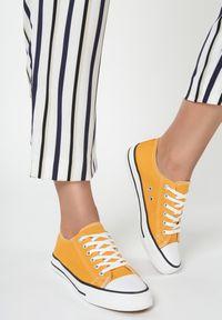Renee - Żółte Trampki Lakelet. Okazja: na co dzień. Wysokość cholewki: przed kostkę. Kolor: żółty. Materiał: jeans, materiał, guma. Szerokość cholewki: normalna. Styl: klasyczny, casual