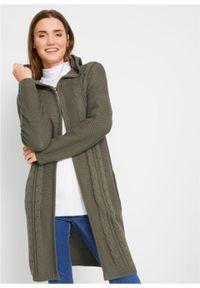 Zielony sweter bonprix z kapturem, długi